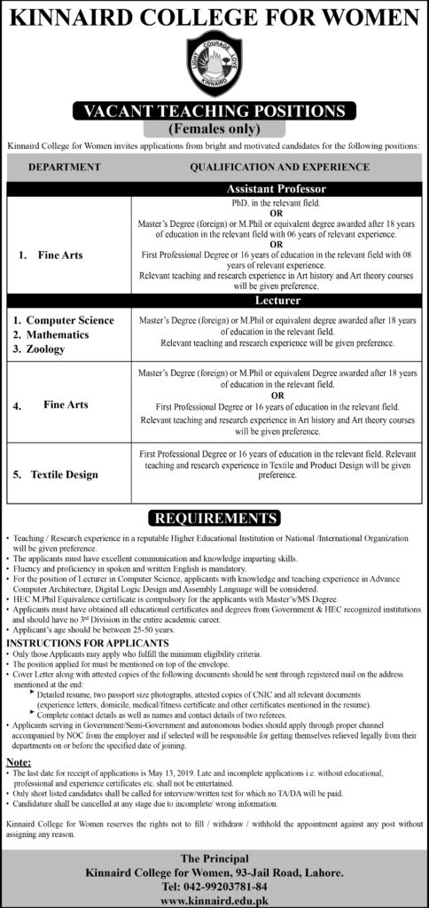 Assistant Professors And Lecturer Jobs at Kinnaird College For Women Lahore For Female