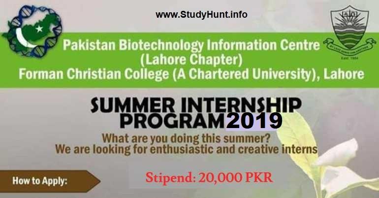 Biotechnology Summer Internship June 2019 at Pakistan Biotechnology Information Center (PABIC) Studyhunt.info Paid