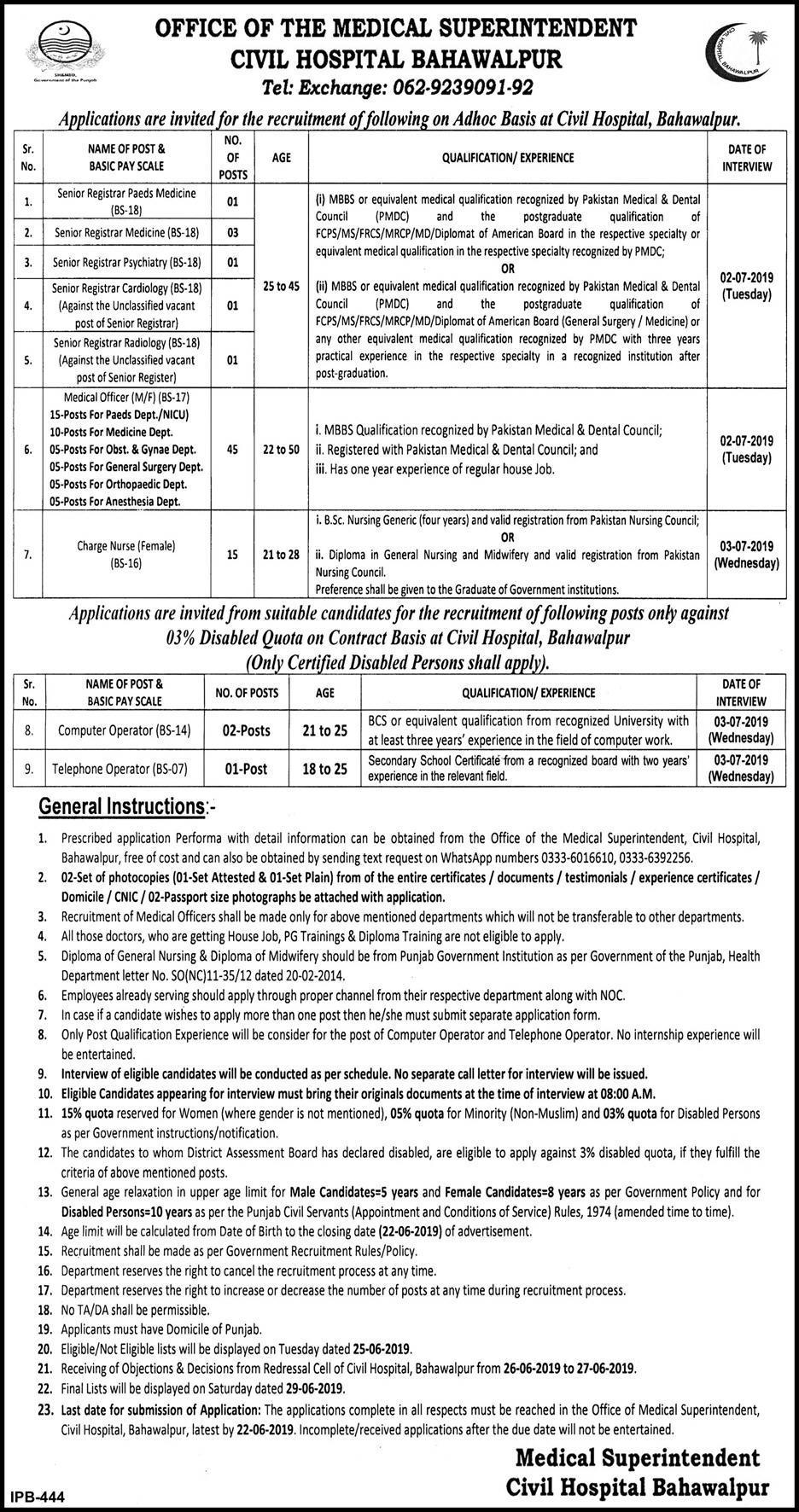 Jobs In Civil Hospital Bahawalpur 04 Jun 2019