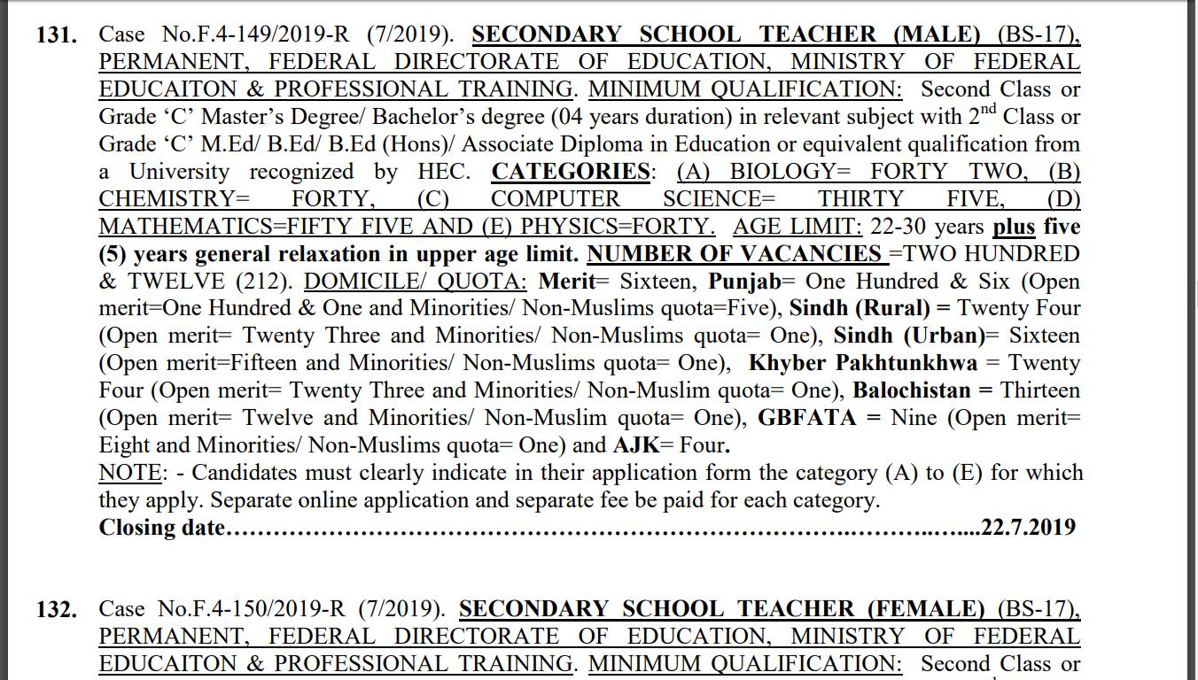 Jobs In FPSC Secondary School Teachers SST (BS-17) Male & Female | Teaching Jobs July 2019