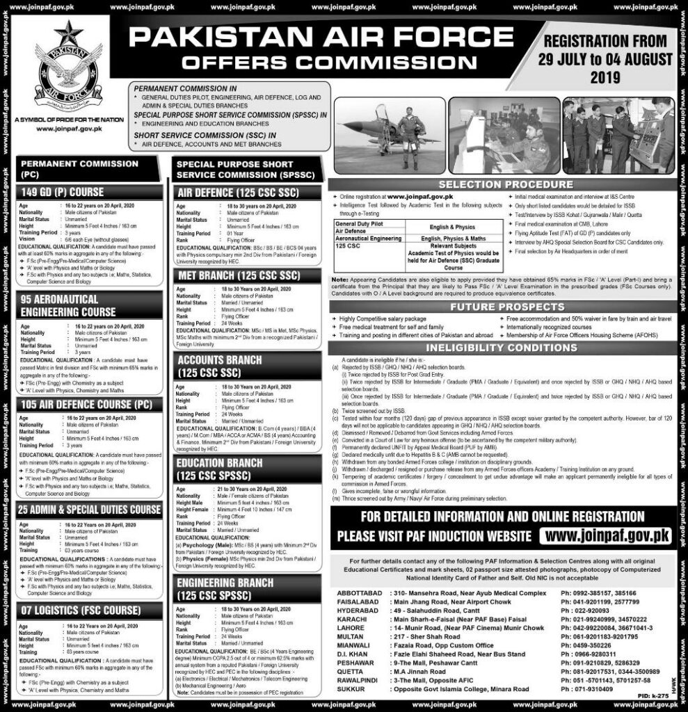 Join Pakistan Air force PAF Jobs 2019 Through SPSSC, SSC and in Permanent Commissions Apply Online 600+ Vacancies