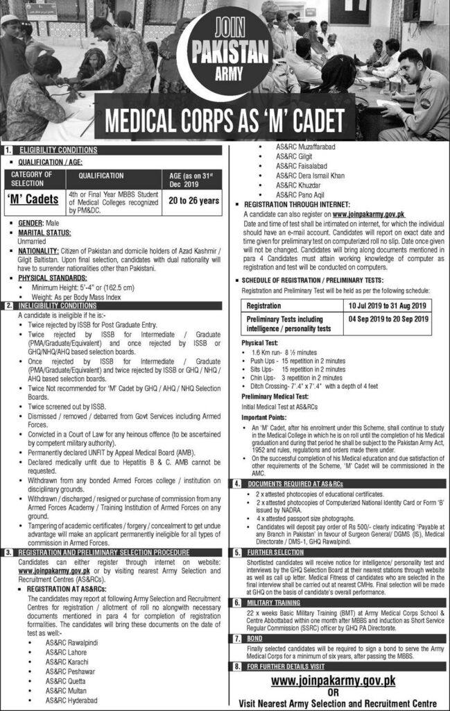 Join Pakistan Army as Medical Cadet July 2019