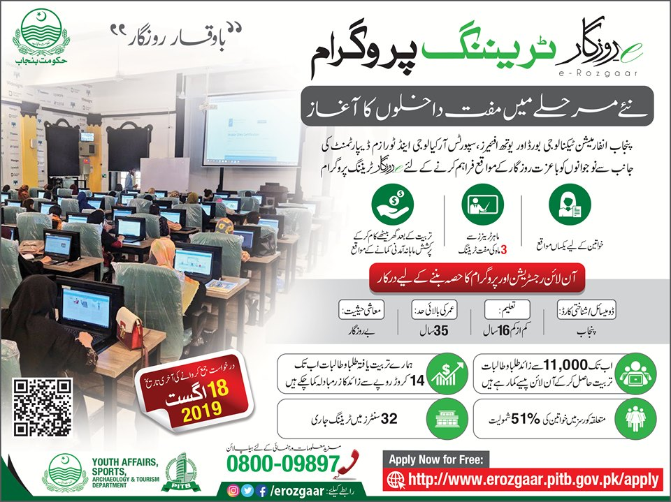 E-Rozgaar Training Program August 2019 - Youth Can Earn Rs