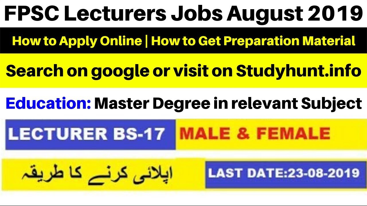FPSC Lecturers Jobs August 2019 for Male & Female Apply Online From All over Pakistan