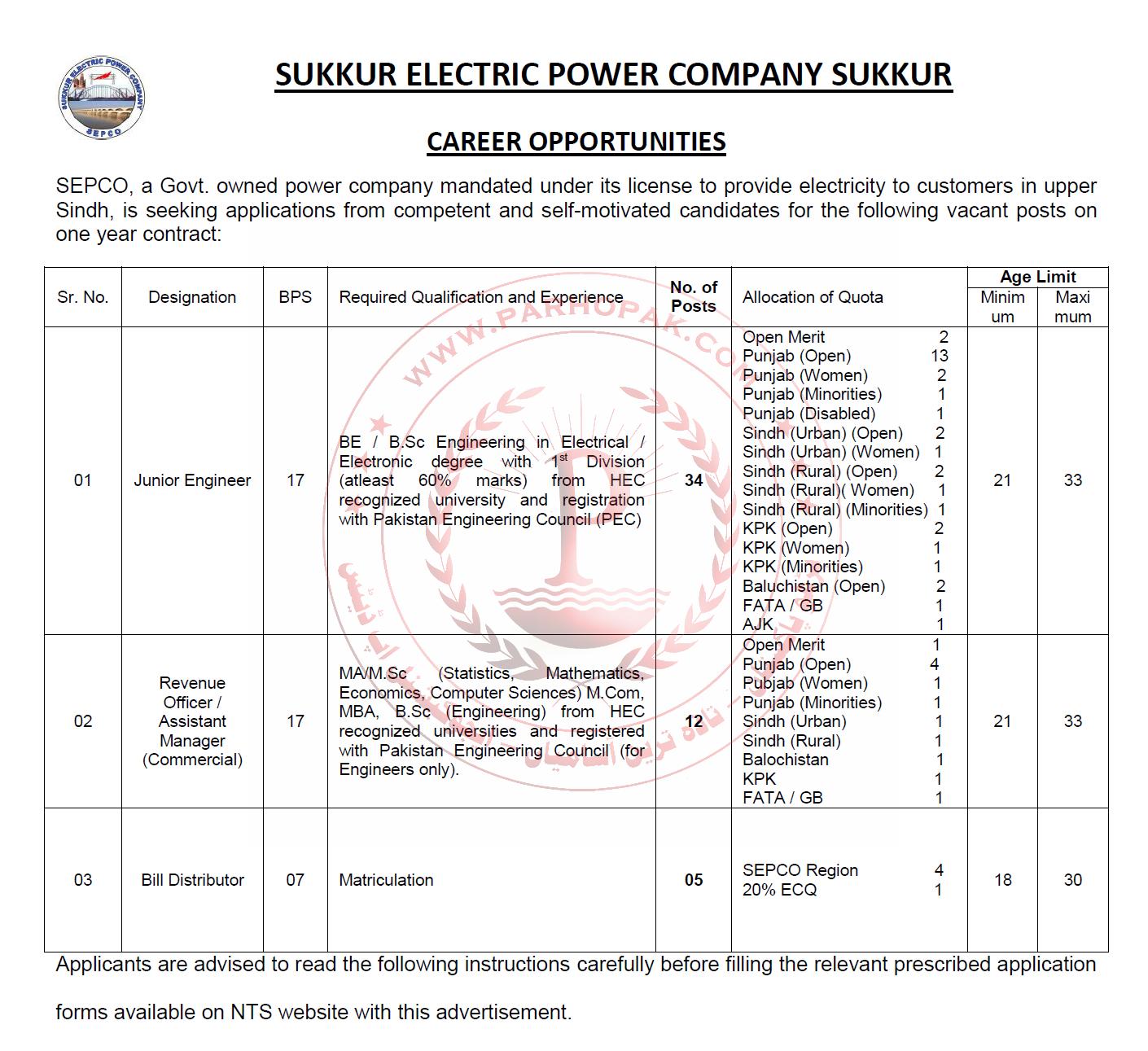 Jobs in Sukkur Electric Power Company SEPCO - Wapda Jobs 2019