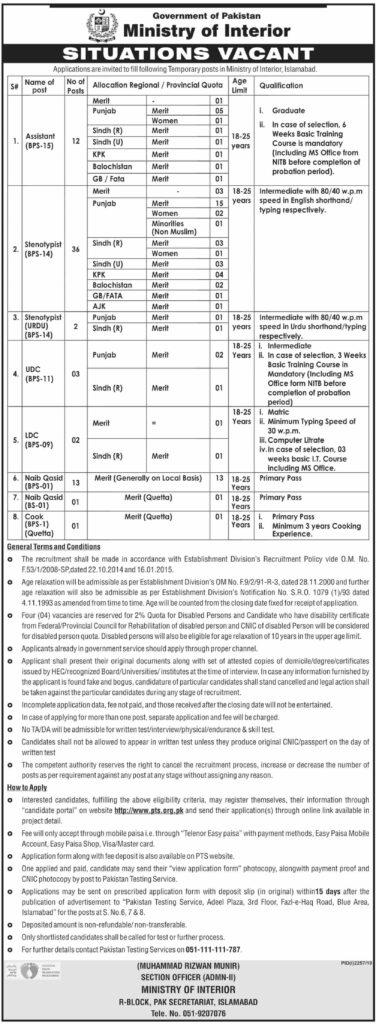 Jobs in Ministry of interior Pakistan 2019
