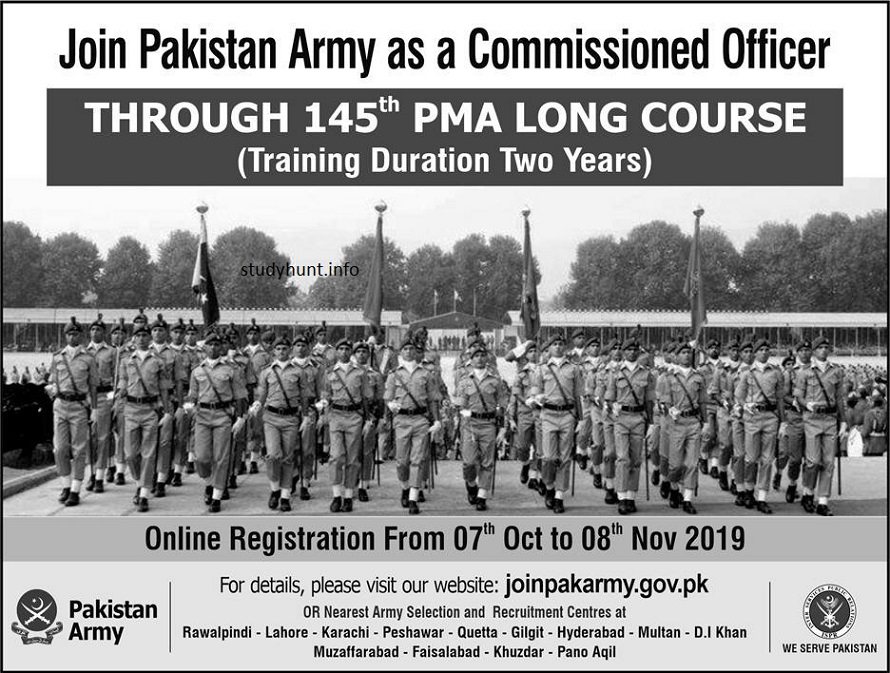 Join Pakistan Army as a Commissioned Officer Through 145th PMA Long Course