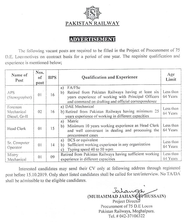 Jobs in Pakistan Ministry of Railways 2019