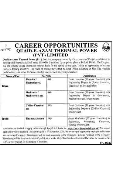 Jobs in Quaid e Azam Thermal Power (Pvt) Ltd Sheikhupura