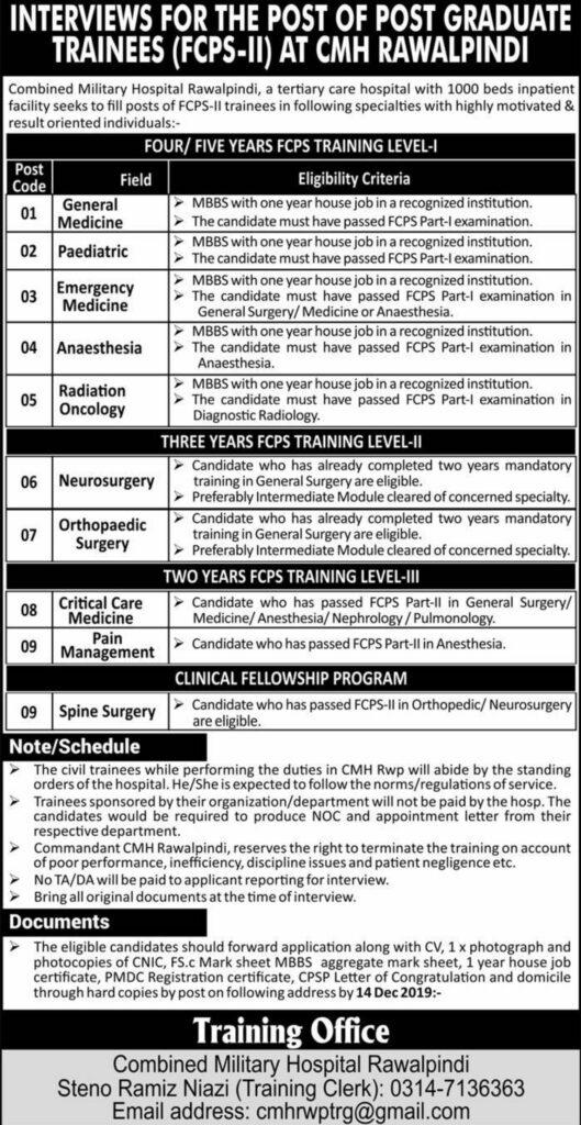 CMH Rawalpindi Jobs 2019 for Post Graduate Trainees (FCPS-II)