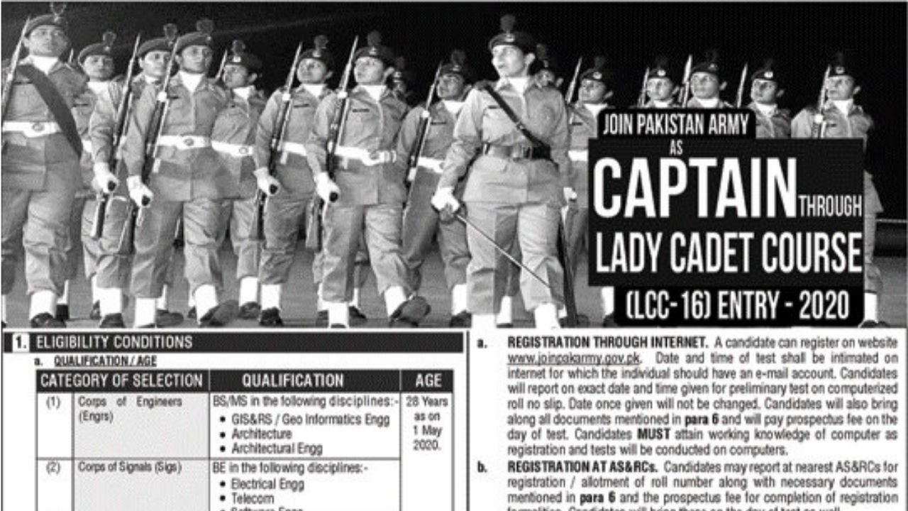 Join Pak Army as Lady Cadet Course 2020 - Online Registration