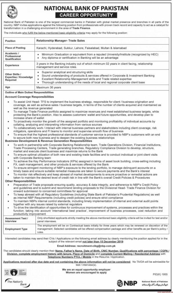 National Bank of Pakistan Jobs 2019