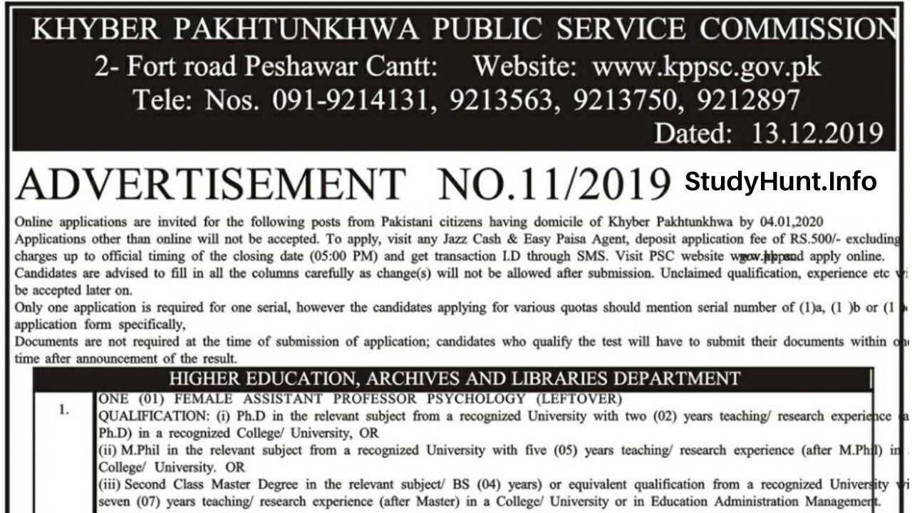 Khyber Pakhtunkhwa Public Service Commission KPPSC Jobs 2019-2020 Latest