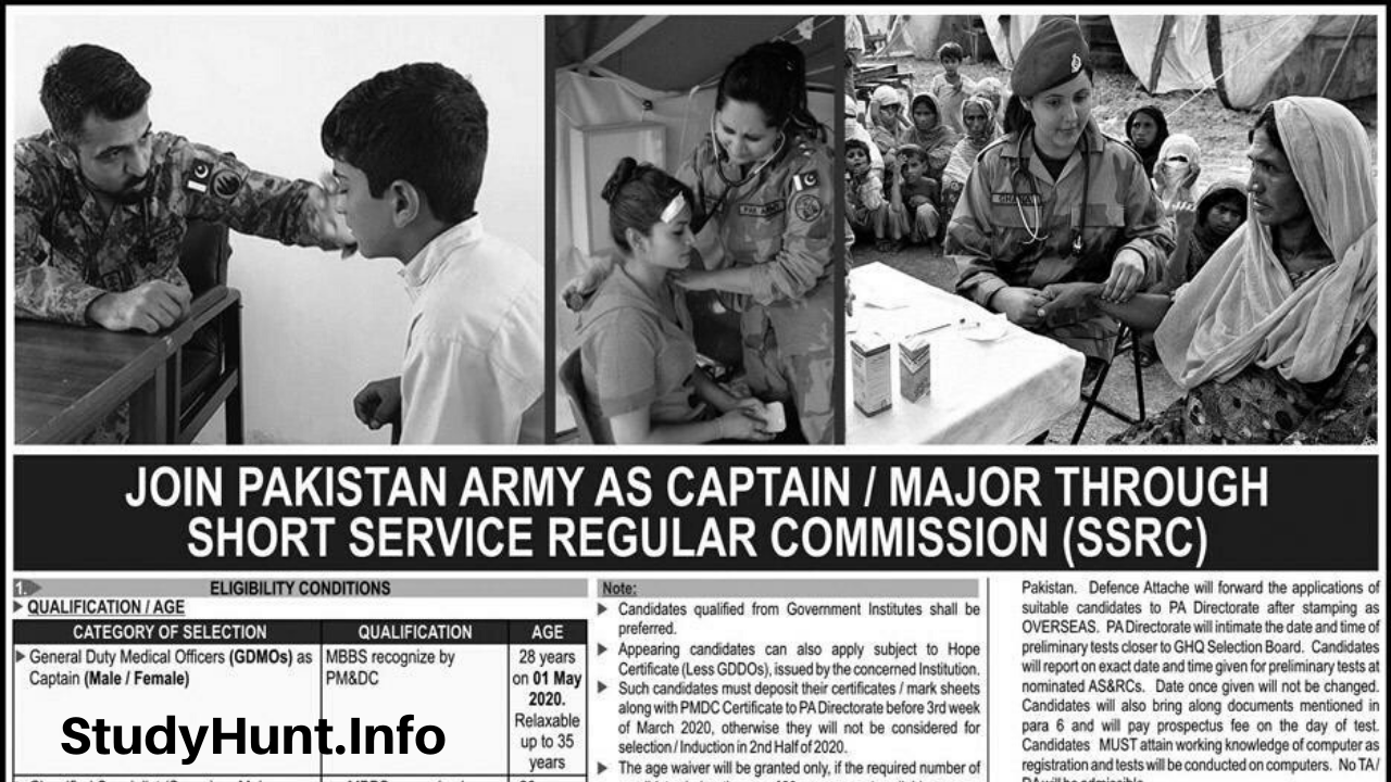Join Pakistan Army as Captain / Major through Short Service Regular Commission SSRC 2020