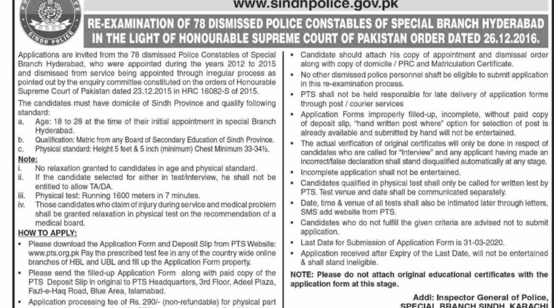 Police Department Government of Sindh Jobs 2020 Latest