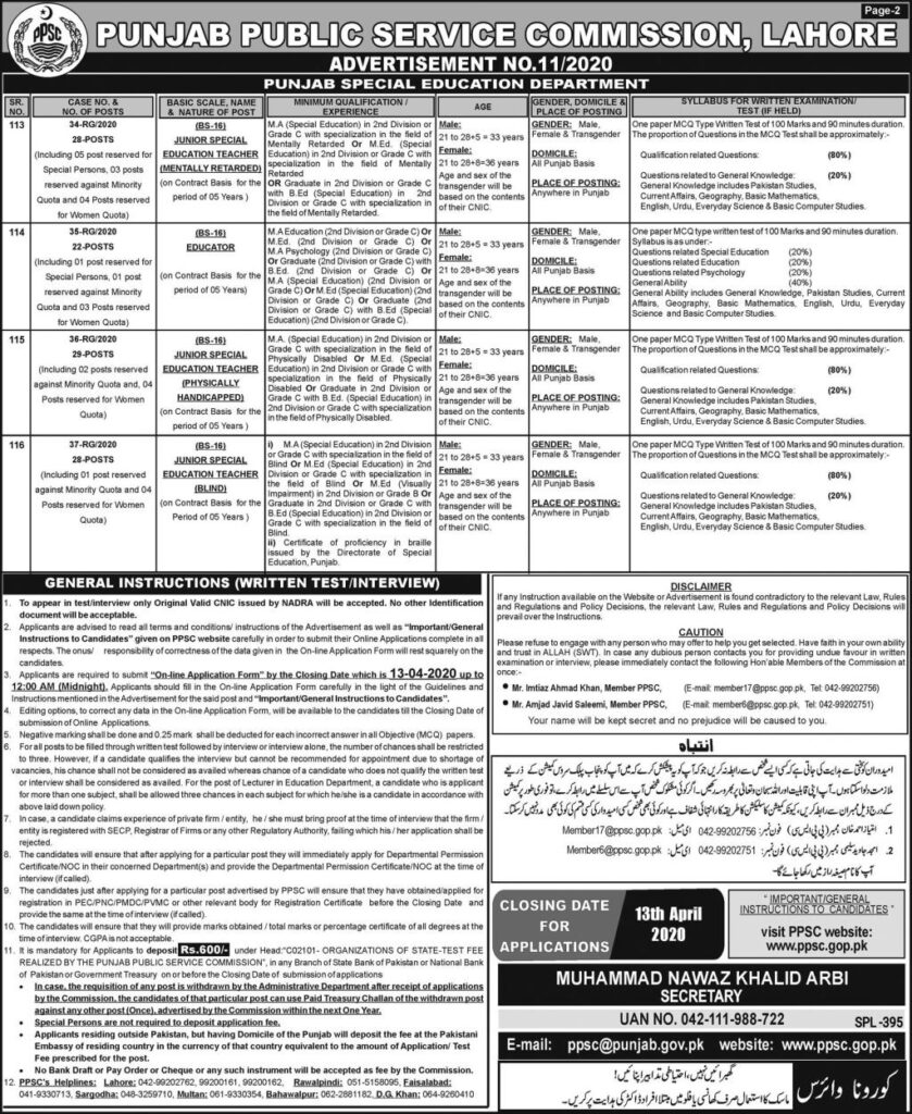 Latest PPSC Jobs 2020 Punjab Special Education Department