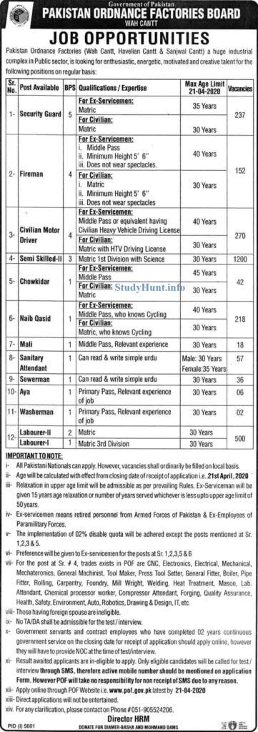 Pakistan Ordnance Factories POF Jobs 2020 Apply online