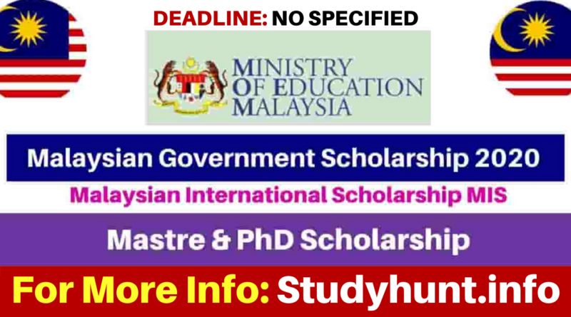 Malaysian International Scholarship for Master and PhD (Fully Funded) 2021