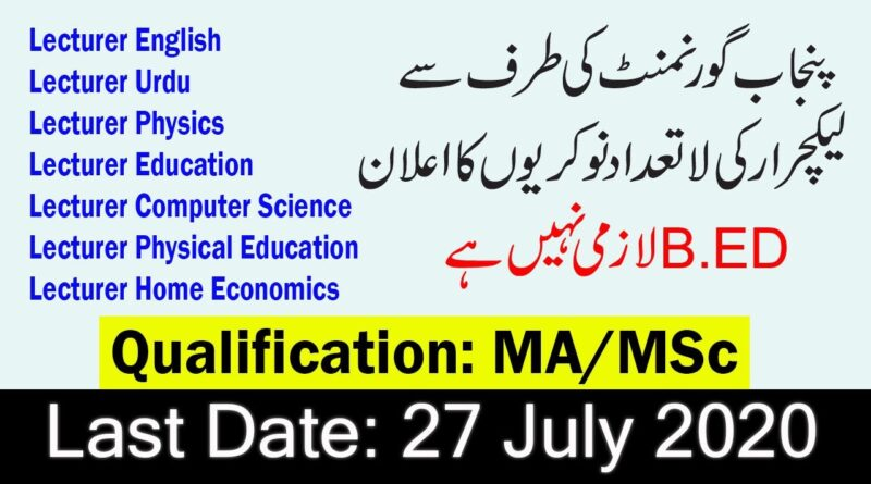 PPSC Lecturer Jobs 2020 Online Apply Advertisement New 650+ Vacancies