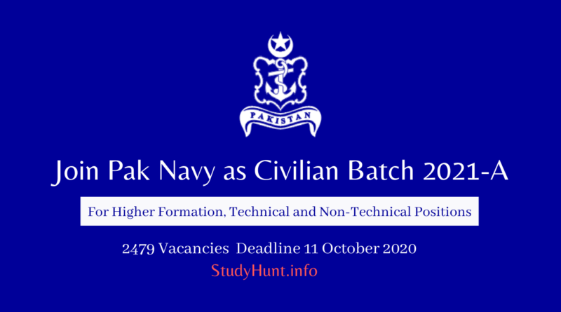 Join Pak Navy as Civilian Batch 2021-A