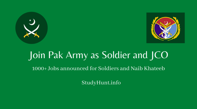 Join Pak Army as Soldier and JCO 2020