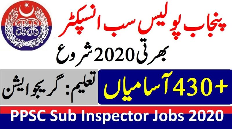 PPSC Sub Inspector Jobs 2020 | Apply Online | Application Form | Challan Form
