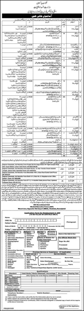 ANF Anti Narcotics Jobs 2020 Application Form and Advertisement