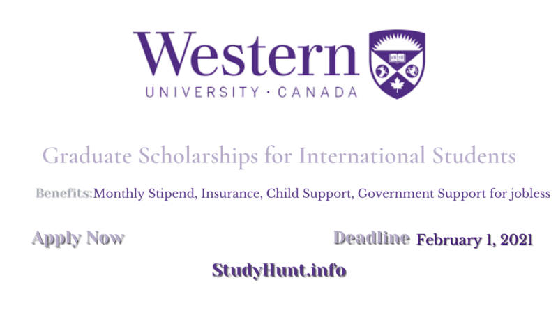 Western University Graduate Scholarships for International Students 2021