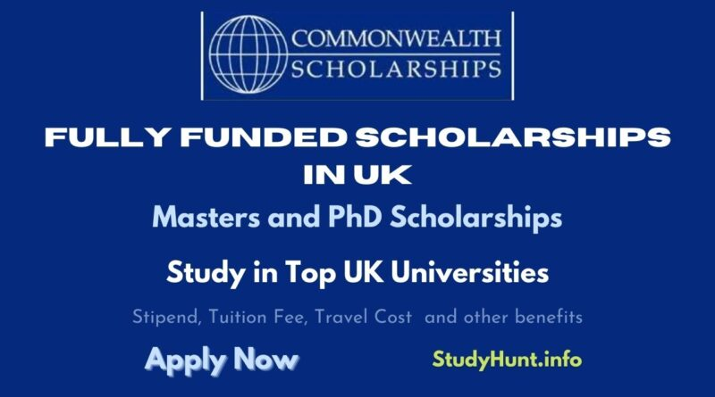 Commonwealth Postgraduate Scholarships in UK 2021