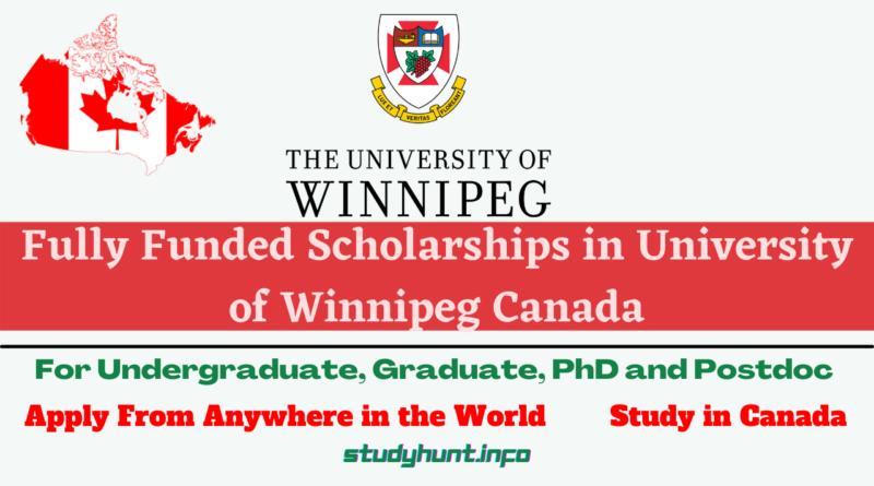 Scholarships in University of Winnipeg Canada 2021