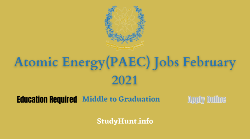 Atomic Energy(PAEC) Jobs February 2021