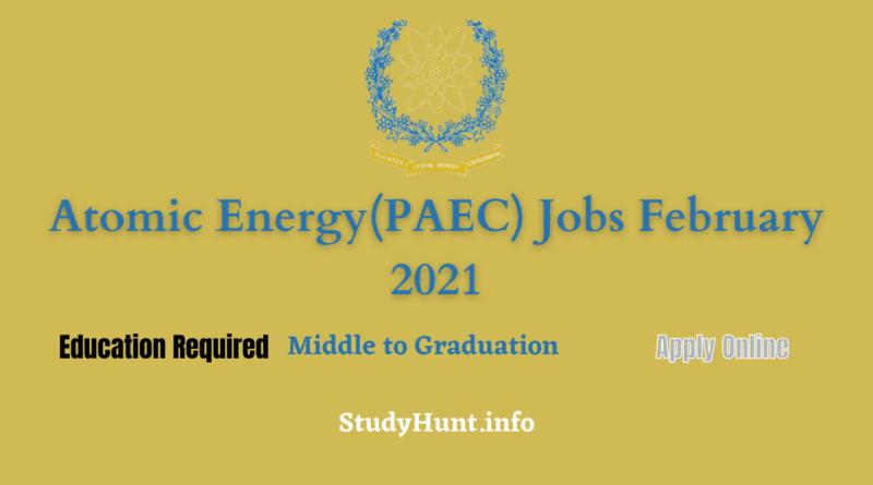 Atomic Energy(PAEC) Jobs February 2021