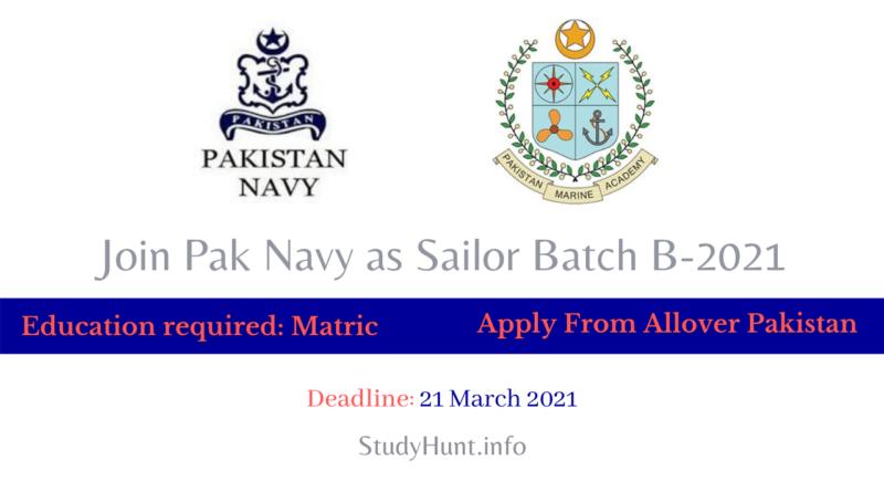 Join Pak Navy as Sailor(Marine) Batch B-2021