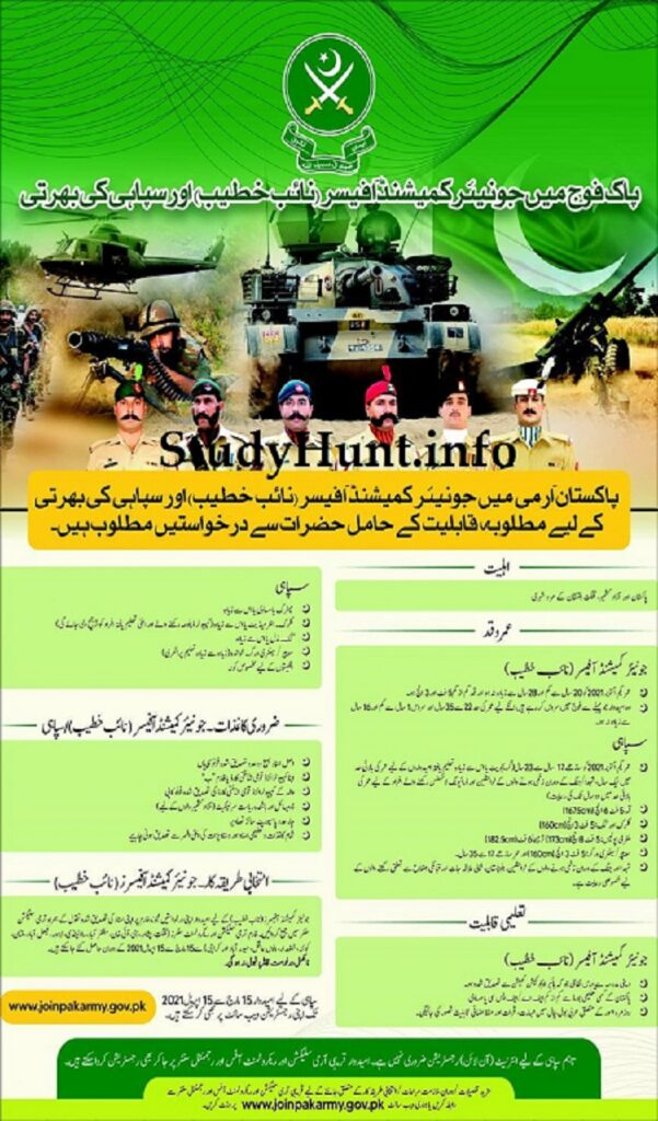 Join Pak Army as Soldier and JCO 2021
