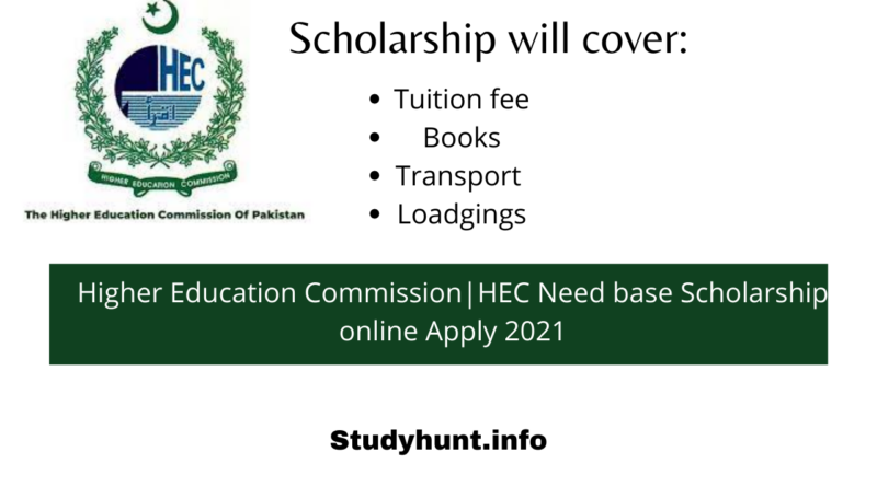 Higher Education Commission|HEC Need base Scholarship online Apply 2021