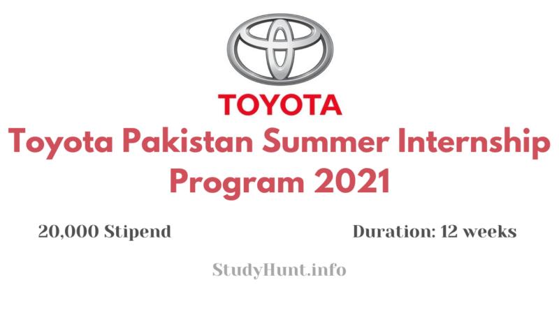 Toyota Pakistan Summer Internship Program 2021