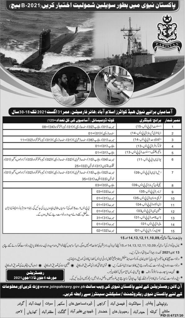 Join Pak Navy as civilian advertisement