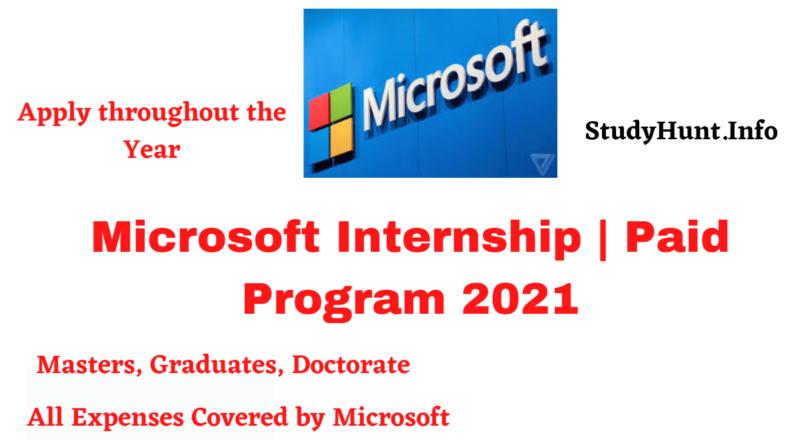Microsoft Internship Paid Program 2021