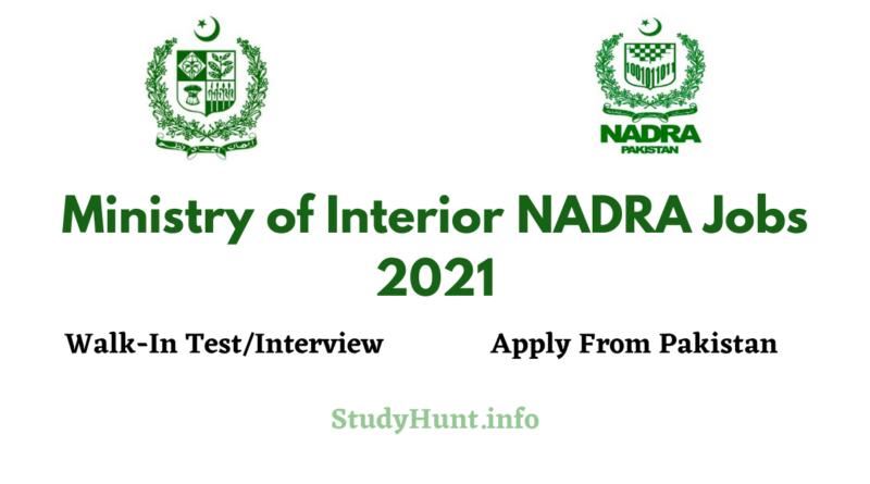 Ministry of Interior NADRA Jobs 2021