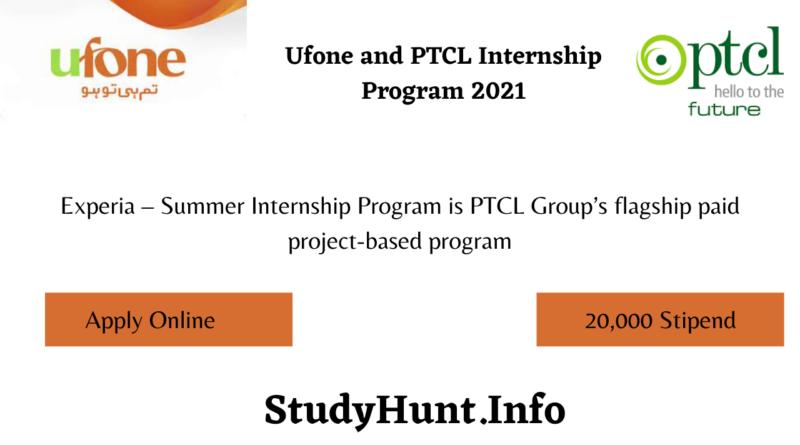 Ufone and PTCL Internship Program 2021