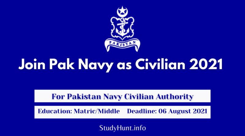 Join Pak Navy as Civilian Jobs 2021
