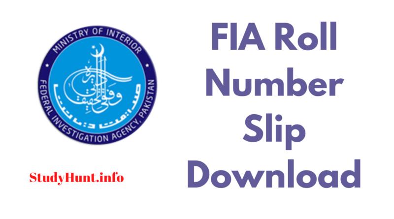 FIA Roll Number Slip Download