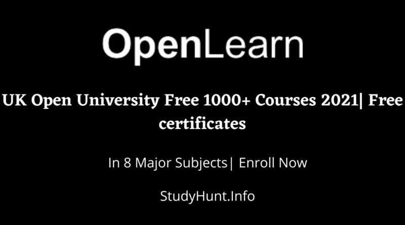 UK Open University Free 1000+ Courses 2021 Free certificates